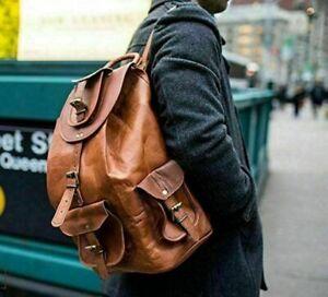 """New Men's 20"""" Brown Genuine Leather Laptop Backpack Travel Rucksack Shoulder Bag"""