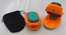 Tieks by Gavrieli Orange/Turquoise Patent Leather Fold-Up Ballet Flat SZ 7 w/Bag