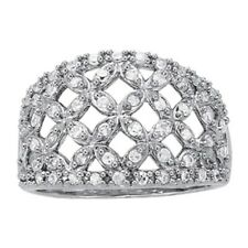 Weave Flower Right Hand Diamond Ring New Ladies 14k White Gold Basket