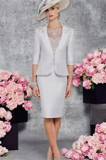 Elegant Jewel Knee-length Satin Appliques Mother of the Bride Dress With Jacket