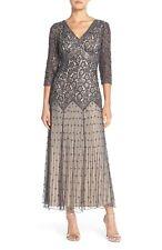 Pisarro Nights Beaded Mesh Drop Waist Dress (size 16P)