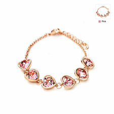 Designer Fashion Rose Gold Plated Sparkly Pink Austrian Crystal Heart Bracelet