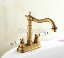 "Antique Brass 4"" Centerset Bathroom Sink Faucet Two-Handle Basin Mixer Tap"