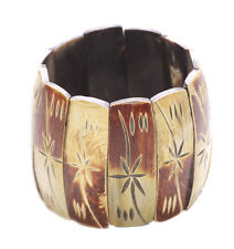 Magnificent Brown Earth Tones Flower Wooden Bracelet Stretchable(B4/zx73)
