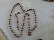 très ancien chapelet d'Ambert du XIXè perle guillochée en corozo