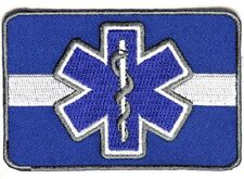 "(F19) WHITE LINE Blue Star Of Life 3.5"" x 2.5"" iron on patch (4608) EMT Medical"
