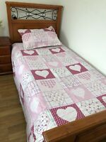 Girls Single /king Single Patchwork Quilt Coverlet Pink Hearts Brand New
