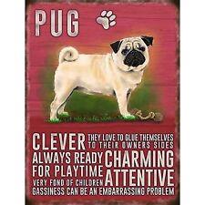 Vintage Style Metal Dog Sign Retro Hanging Plaque Breed Characteristics - 9cm Pug