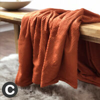 Luxury Super Soft Waffle Burnt Orange Rust Chenille Bed Sofa Blanket Throw