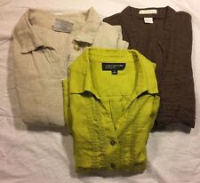 Pre-Owned Lot Of 3 Women's Linen Shirts Size Small Bay St Jones New York Tweeds