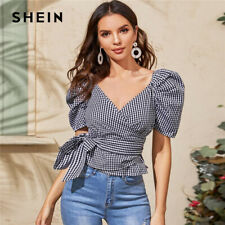 SHEIN Wrap Belted Puff Sleeve Blouse Top Women 2020 Summer Ladies Blouses