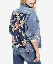 Guess womens 90s Icon Floral Jacquard medium wash denim jacket M NEW
