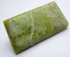 broche bijou vintage base couleur argent pierre cabochon vert marbré 628
