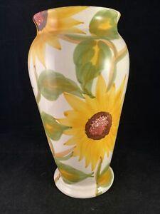 Sunflower Glazed Ceramic Vase. 26cm Tall