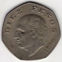 1976 MEXICO DIEZ TEN 10 PESOS  NICE WORLD COIN