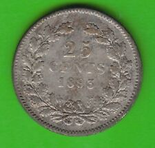 Niederlande 25 Cents 1893 Silber seltener Jahrgang nswleipzig