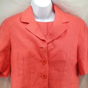 Womens Dress Suit Talbots Size 6 Irish Linen Coral Lined Career-wear