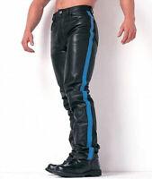 MEN'S VERY HOT LEVI'S 501 STYLE BLACK BLUF BREECHE LEATHER BIKER PANT LEDERHOSEN