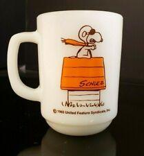 Snoopy Orange Red Baron Coffee MUG CUP Vintage Fire King / Anchor Hocking
