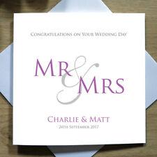 Personalised Handmade Wedding Day Card - Mr/Mrs, Bride/Groom, Congratulations