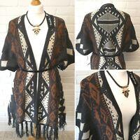 Womens Chunky Cardigan 12-14 Native Waterfall Jacket Tassel Poncho Knit Aztec