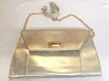 d8f6bc7206e ALDO SILVER PARTY EVENING ENVELOPE STYLE CLUTCH SHOULDER STRAP BAG GOLD  CLASP