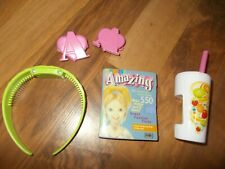 Amazing Ally doll pink hair clips green headband drink Hair styles book