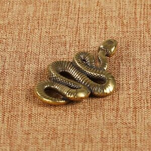 Antique Brass Snake Ornament Small Animal Figurines Statue Home Table Decor