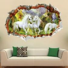 Removable Wall Sticker Decal 3D Window Unicorn For Kids Nursery Baby Home Decor