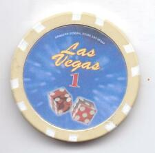 LAS VEGAS-GAMBLERS GENERAL STORE-1-CASINO CHIP-ONE 1/2 INCHES WIDTH