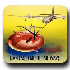 QANTAS Empire AIRWAYS AGENTE DI VIAGGIO Retrò Vintage Metallo Orologio da parete Tin sign