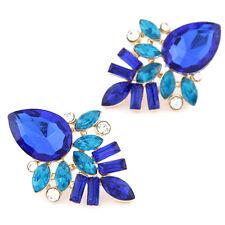 Elegant Blue Tear Drop Stone Rheinstones Pierced Stud Fashion Jewelry Earrings