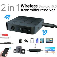 2in1 Wireless Bluetooth 5.0 Audio Transmitter Car Receiver Stereo Music RCA AUX