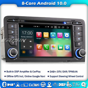 8 core dab + car radio android 10 for audi a3 s3 rs3 rnse-pu gps tpms wifi + carplay