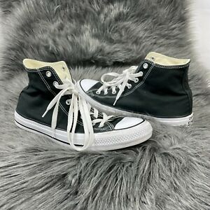 Converse Men All Star Hi Top Leather Sneakers Black Chuck Taylor M 11.5 -W 13.5