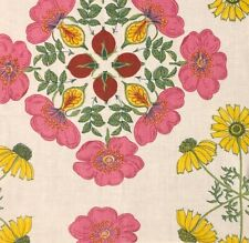Raoul Textiles Rosa Spring Oyster Linen Floral Pink Green Remnant New