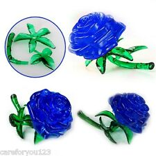 3D Crystal Furnish Blue Rose Cube Block Jigsaw Puzzle IQ Gadget Cute Souptoys