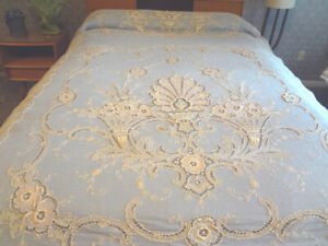 Fabulous Antique Ornate Tambour Embroidered & Applique Net Lace Bedcover