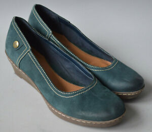 Ladies Clarks Softwear Teal Blue Nobuck Suede Leather Wedge Shoes Size UK 5.5