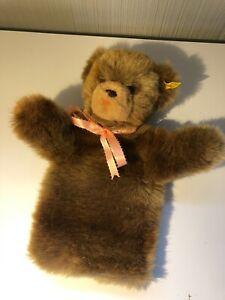 "Steiff teddy bear puppet 1990s 12"" super-soft plush FREE SHIP"