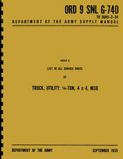 ORD 9 SNL G-740 ~ List of All Service Parts ~ M38 Manual ~ Reprnt