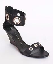 GIUSEPPE ZANOTTI Black Leather Grommet Ankle Strap Wedge Sandal Shoe 38.5 NIB