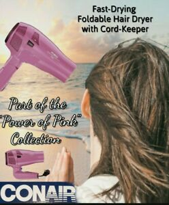 Conair Fast-Drying & Foldable Hair Dryer Retractable Cord-Keeper Pink 1875 Watt