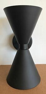 DC137 DOUBLE CONE SCONCE BOW TIE HOURGLASS BLACK MADE IN USA! MCM NEW