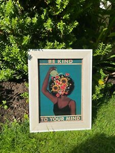 Mental Health Motivational Be Kind To Your Mind Cotton Canvas Poster A4