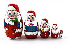 Santa Claus Christmas Russian Stacking Wooden Nesting Dolls Matryoshka set 5 Pcs
