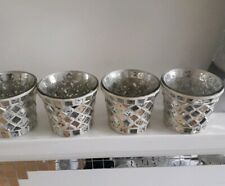 4 Yankee Candle Silver Mosaic Votive Holders