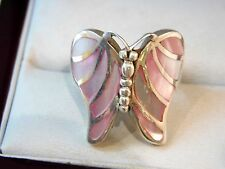 Sterling Silver Pink Mother of Pearl MOP Butterfly Insect size 7  Ring 10c 11