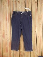 Christopher & Banks Jeans Stretch Ankle Length Women's Dark Blue Size 14P