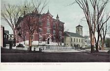 Antique POSTCARD c1906-07 High School & Unitarian Church HAVERHILL, MA Unused